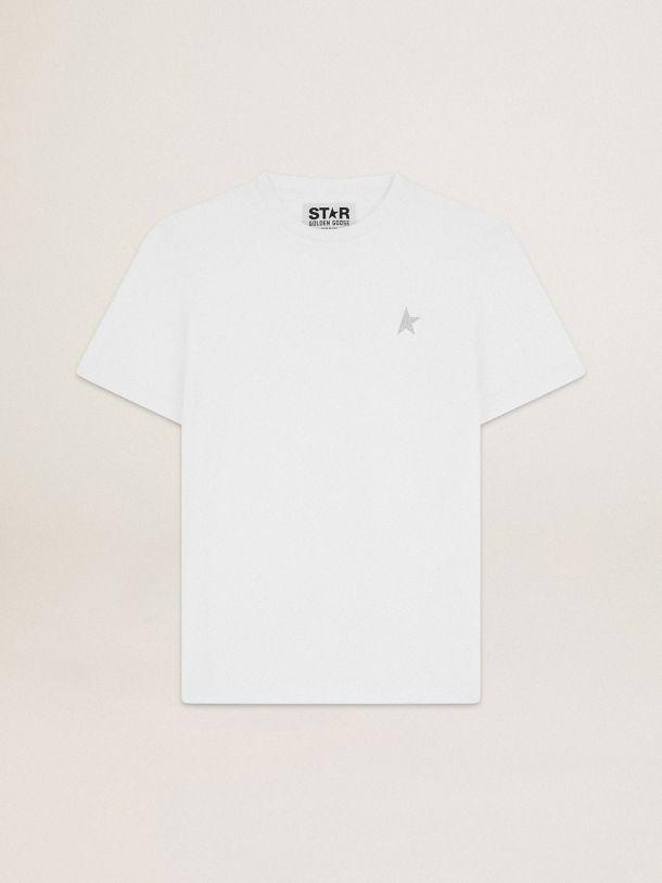 Golden Goose - 앞면에 실버 글리터 스타가 있는 화이트 Star 컬렉션 티셔츠 in