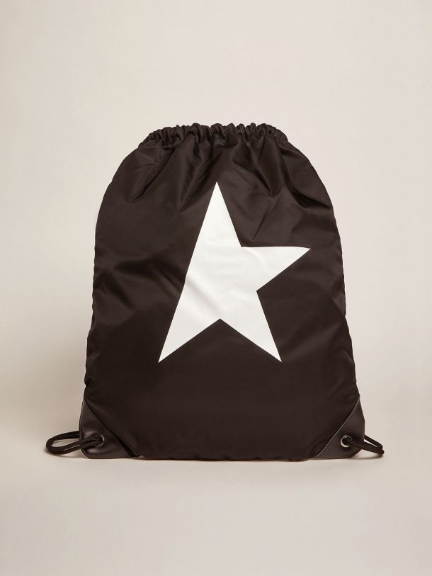 Golden Goose - Star Collection backpack in black nylon with drawstring fastening in