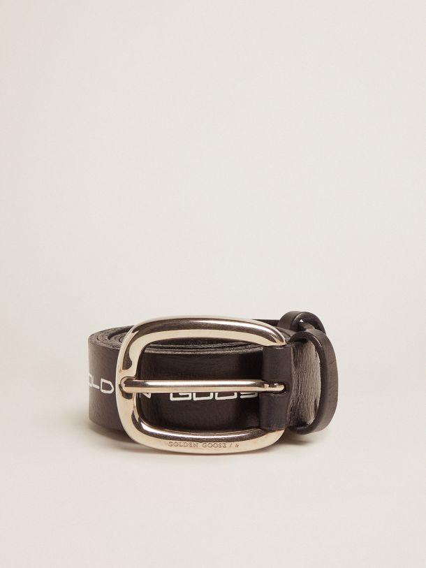 Cinturón Houston de piel negra con mensaje escrito a mano en contraste