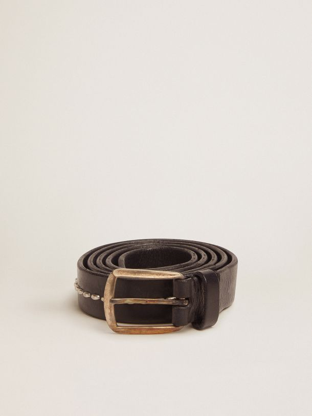 Black Rosario belt in washed leather with studs