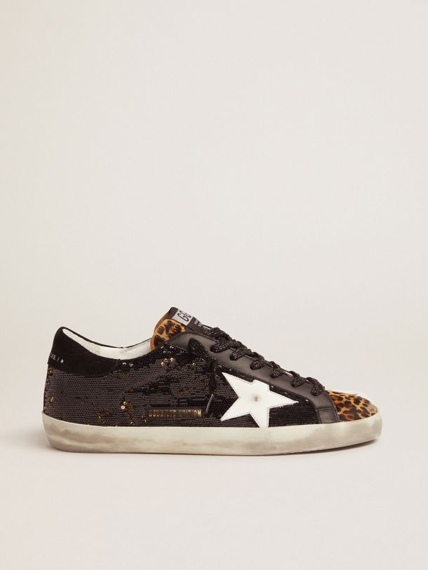 Golden Goose - Men's Limited Edition Super-Star with sequins and leopard-print insert in