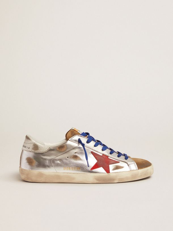 Golden Goose - Super-Star sneakers in laminated leather and suede with red star in