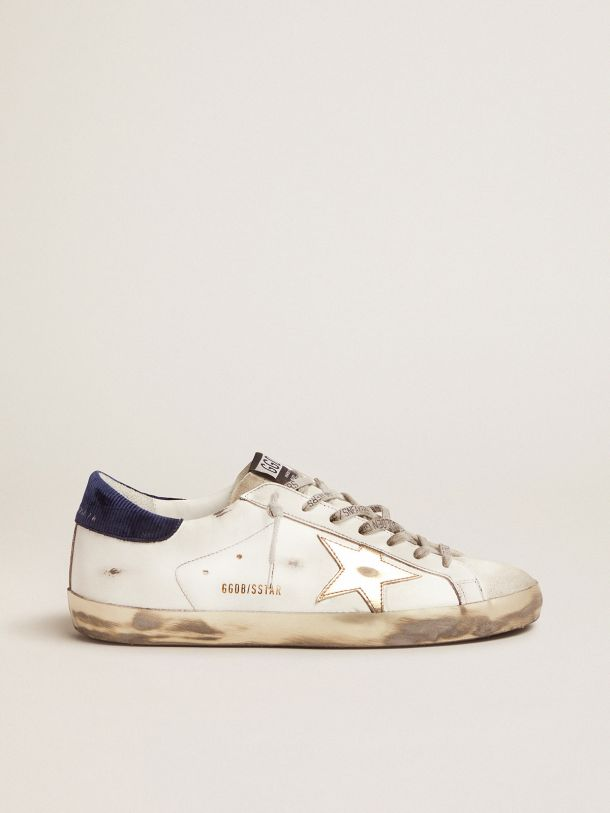 Golden Goose - Sneakers Super-Star con talloncino night blue velluto a coste in