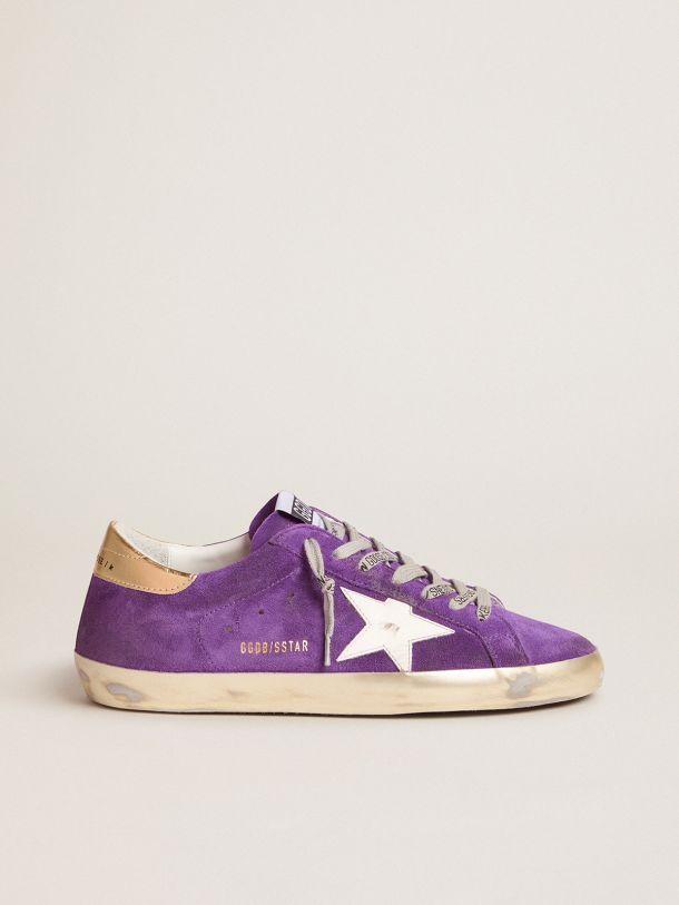 Golden Goose - Purple suede Super-Star sneakers with gold heel tab in
