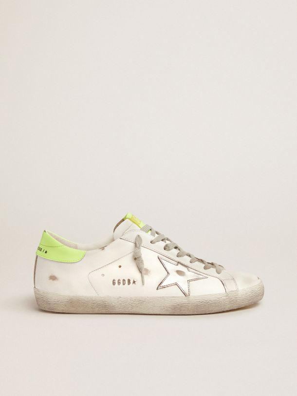 Golden Goose - Super-Star sneakers with fluorescent yellow heel tab and sole in