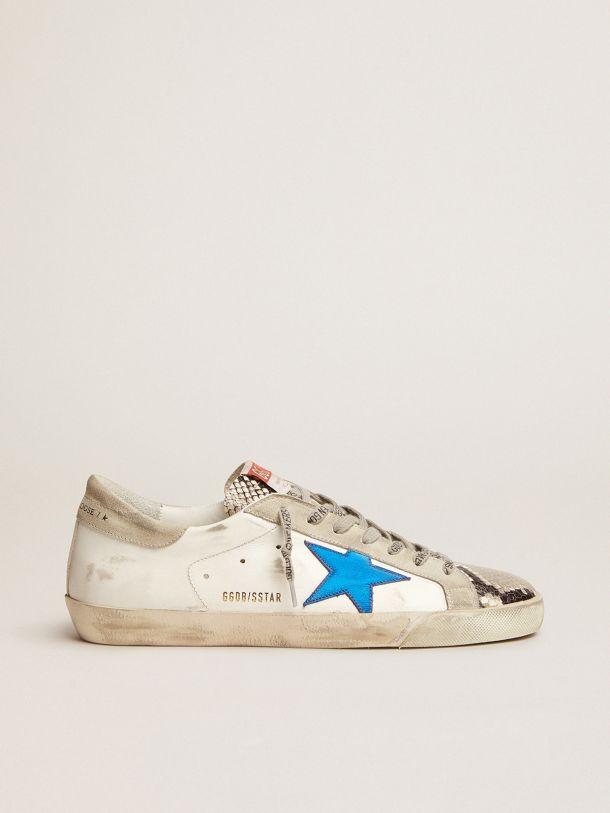 Golden Goose - Sneaker Super-Star con inserti in pelle pitonata e stella blu in pelle laminata in
