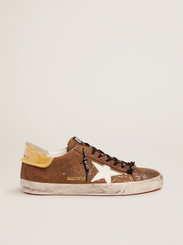 Golden Goose - Super-Star sneakers in brown waxed suede, PVC heel tab and silver glitter on the toe cap in
