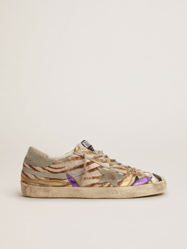 Golden Goose - Super-Star sneakers in zebra-print pony skin with colored laminated leather petals in