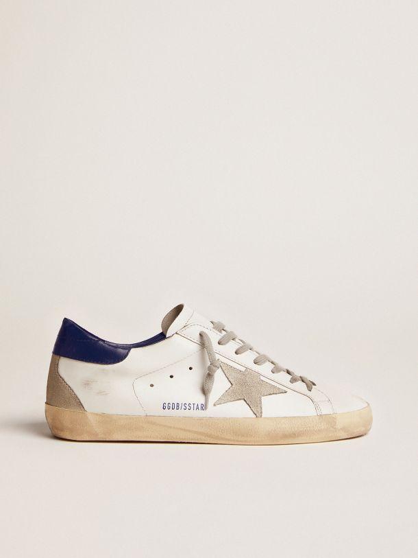 Sneakers Super-Star avec étoile en cuir velours et talon bleu