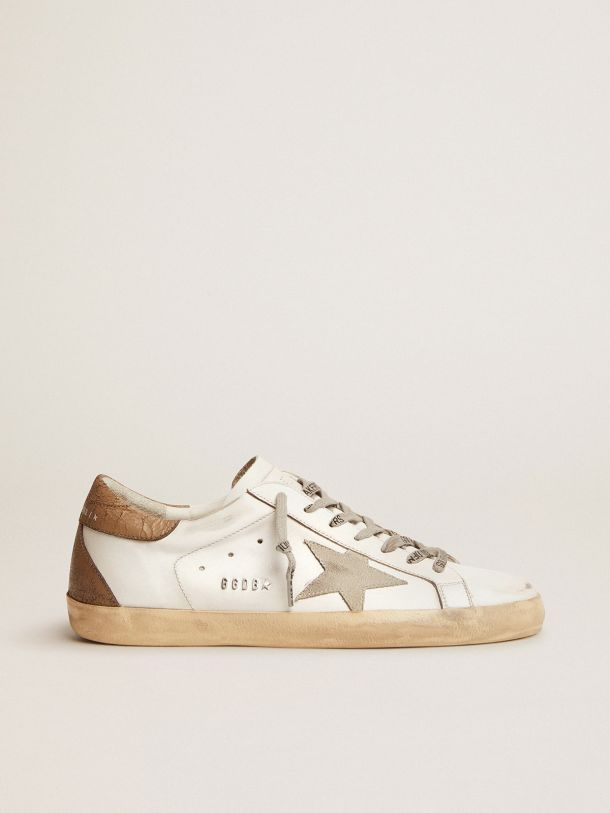 Super-Star sneakers with khaki-colored crackled leather heel tab