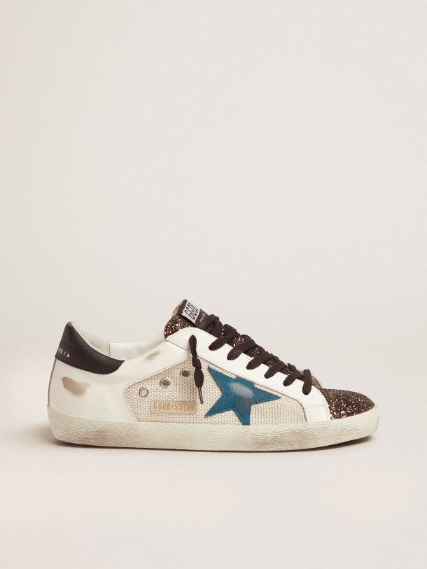 Golden Goose - Super-Star sneakers with glitter insert and blue storm suede star in