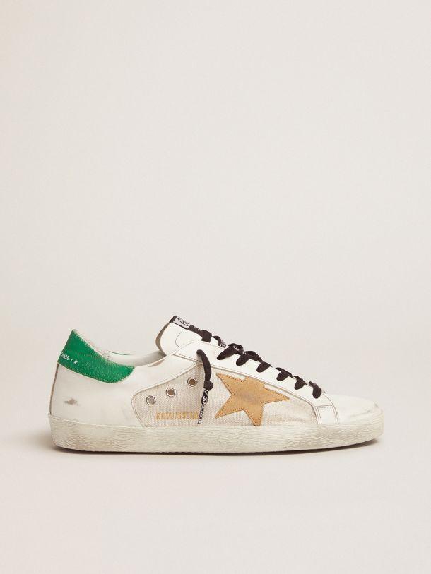 Golden Goose - Super-Star sneakers with green crackle-effect heel tab in