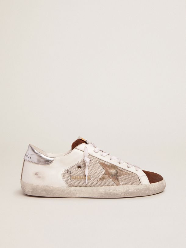 Golden Goose - Super-Star sneakers in white leather and pale silver mesh in