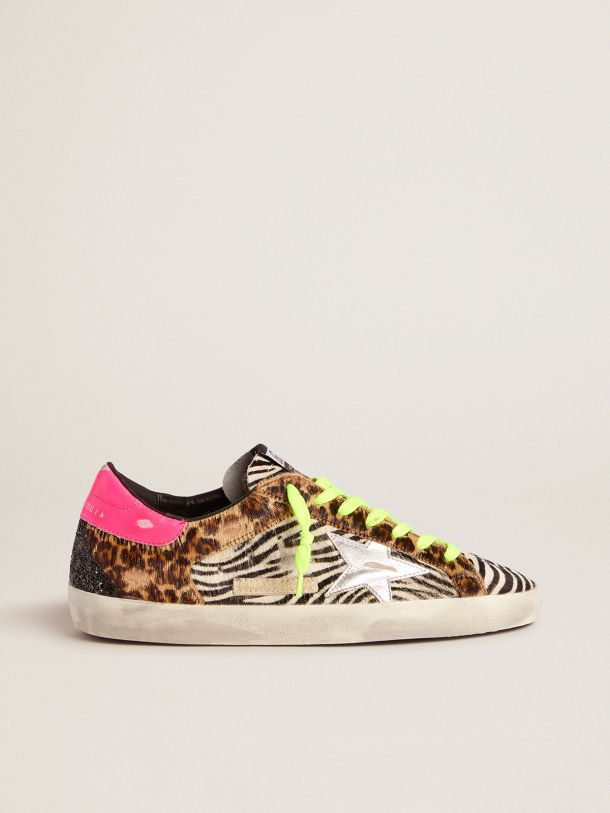 Golden Goose - Men's Limited Edition LAB glitter animal-print Super-Star sneakers in