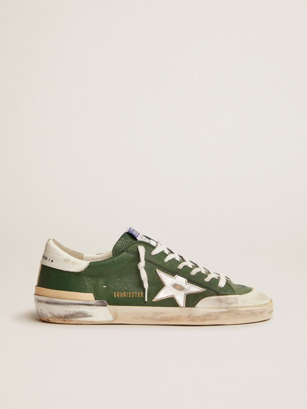 Golden Goose - Super-Star sneakers in green leather and multi-foxing in