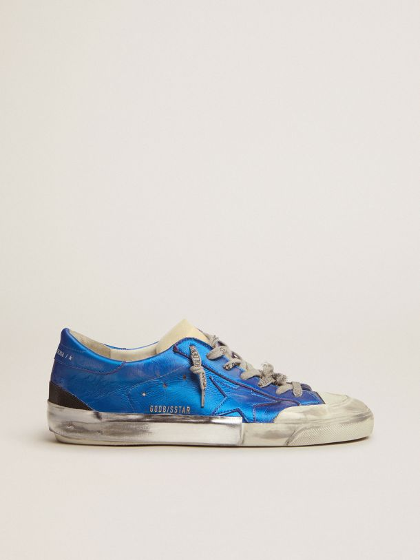 Super-Star Penstar sneakers in blue laminated leather with multi-foxing