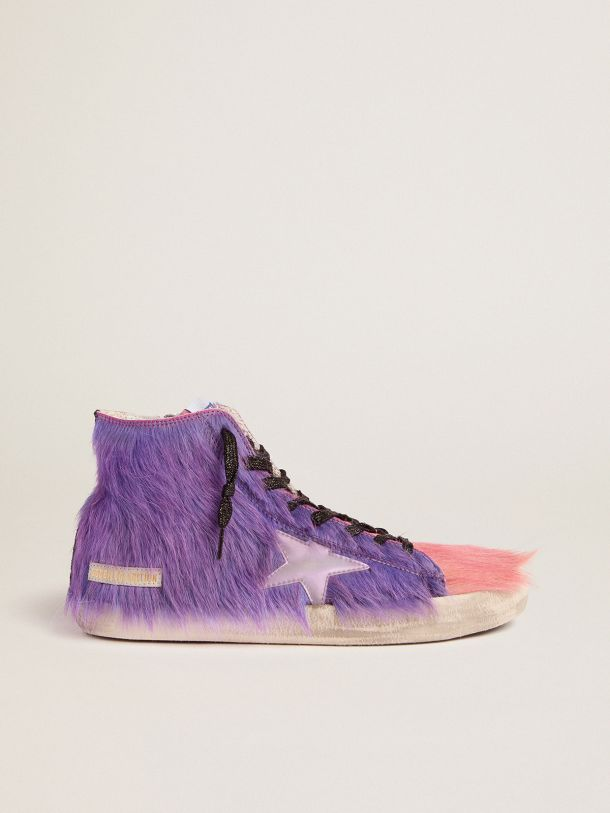 Golden Goose - Men's Limited Edition lilac and pink pony skin Francy sneakers in