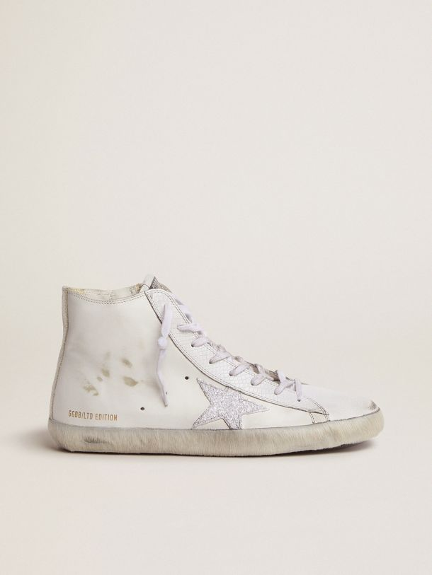 Men's LAB Limited Edition white and glitter Francy sneakers