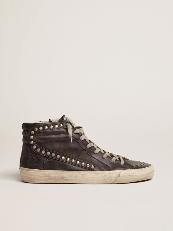 Golden Goose - Slide sneakers in metal studded leather in