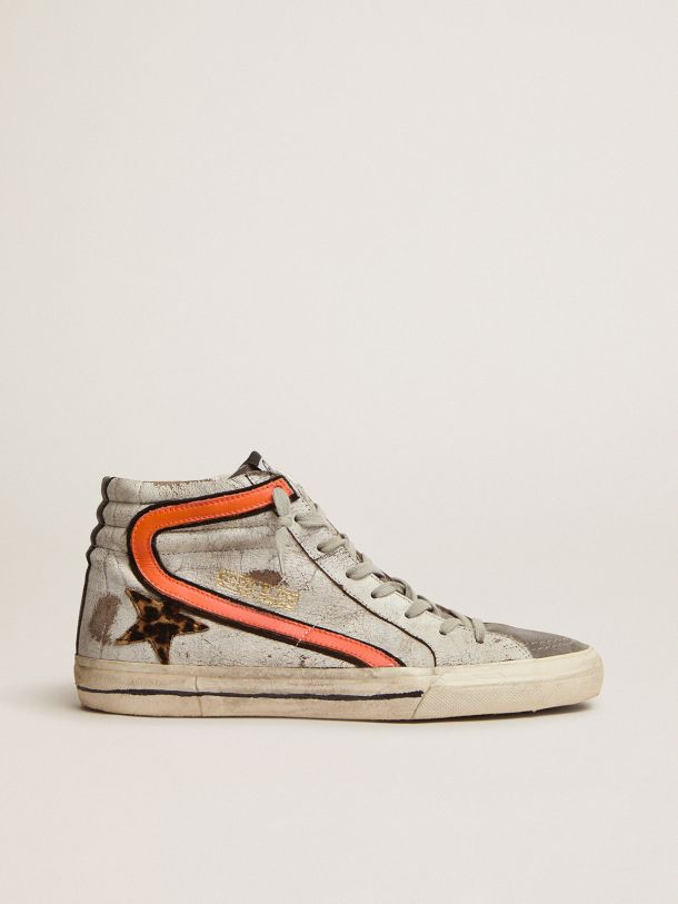 Golden Goose - Slide sneakers in crackled suede with leopard-print pony skin star in