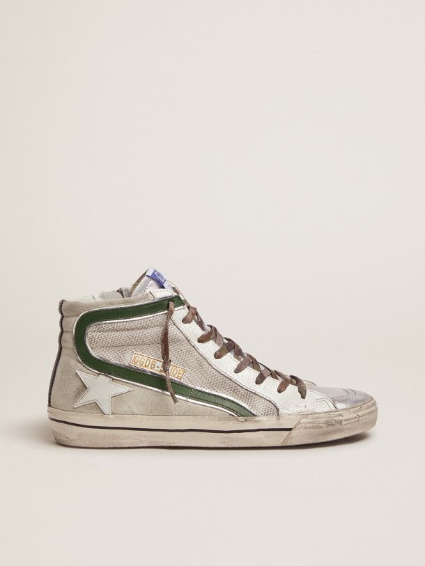 Golden Goose - Slide LTD sneakers in leather and mesh with green flash in