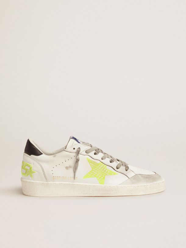 Golden Goose - White Ball Star sneakers with fluorescent yellow details in
