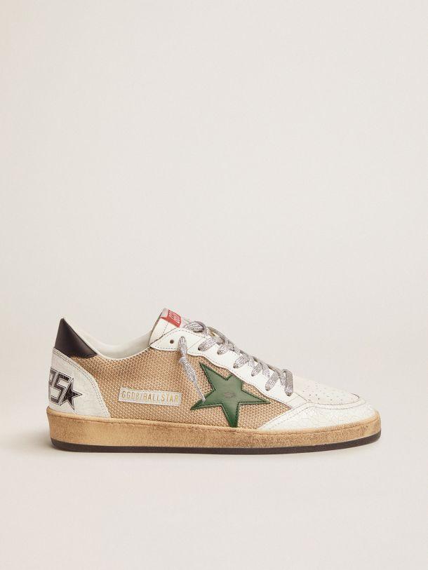 Golden Goose - Sneakers Ball Star in pelle e mesh con talloncino verde in