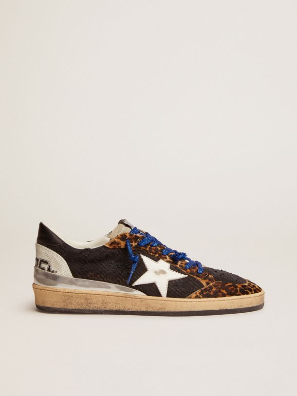 Ball Star sneakers in black distressed canvas, leopard-print pony skin inserts and multi-foxing
