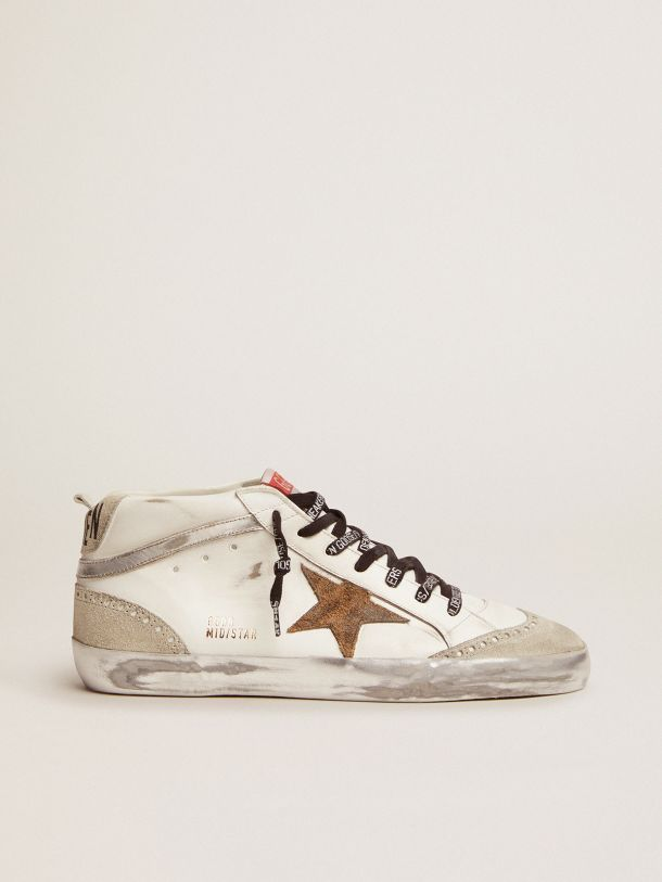 Golden Goose - Mid Star sneakers with leopard-print suede star and silver laminated leather flash in