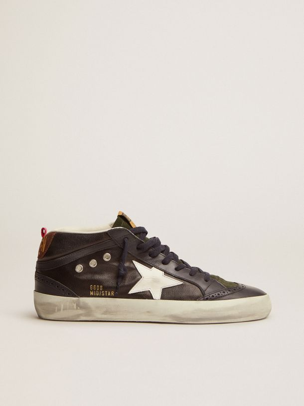 Mid Star sneakers in dark blue canvas with white leather star