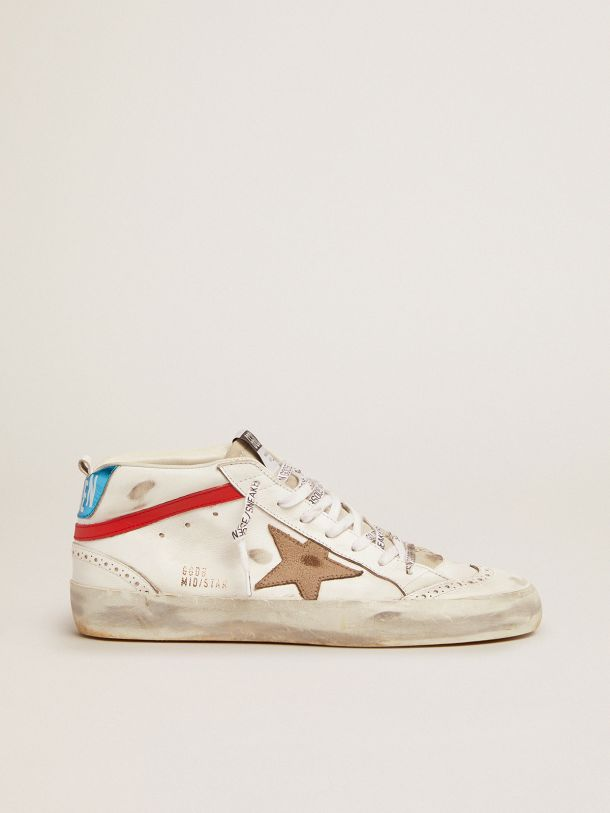 Mid Star sneakers with metallic blue heel tab and star in khaki crackled leather