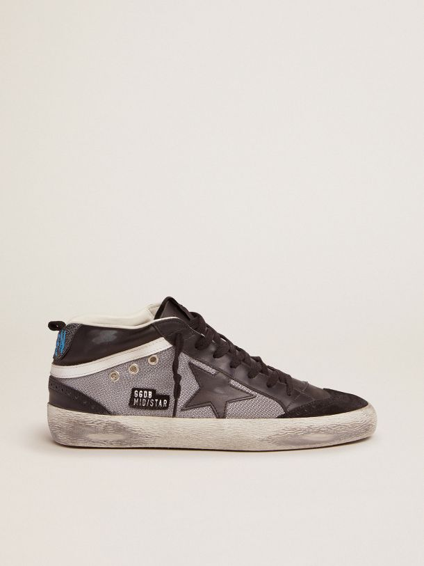 Golden Goose - Mid Star sneakers in black leather and silver mesh in