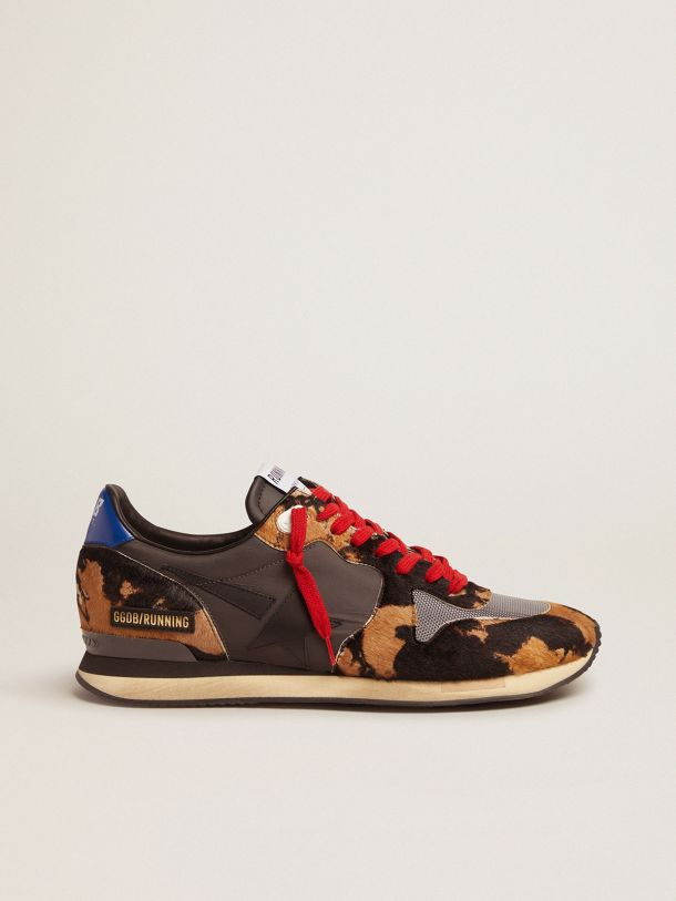 Running Sneakers with pony skin and textured nylon inserts