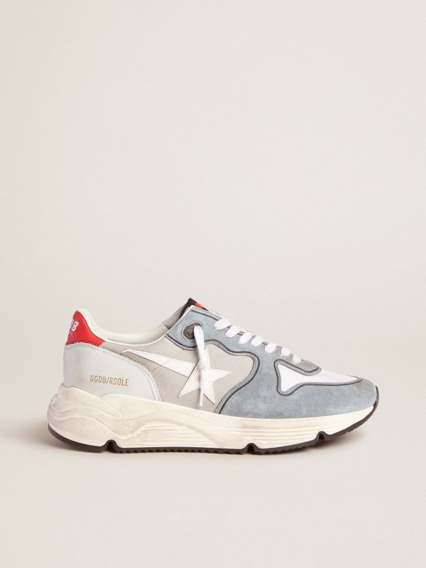 Grey Running Sole sneakers in suede and canvas