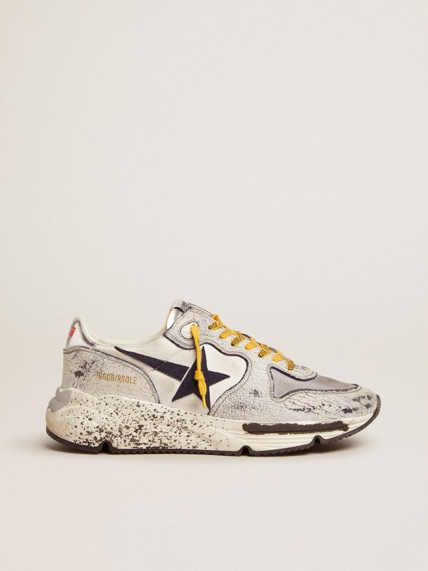 Golden Goose - Running Sole sneakers in nylon with white crackle leather inserts in