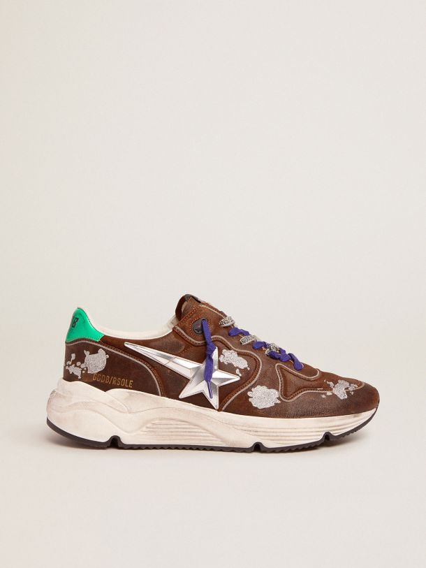 Running Sole sneakers in cognac-colored suede with 3D star