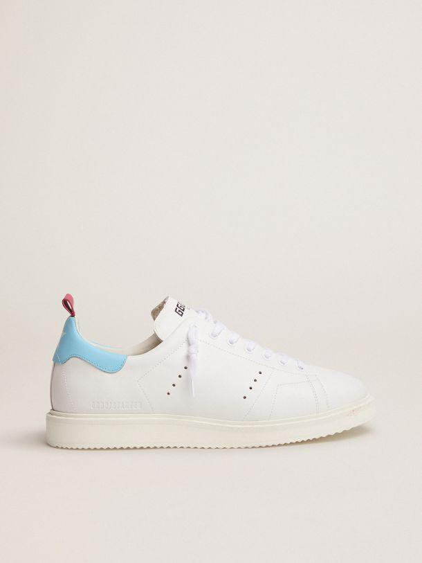 Golden Goose - White Starter LTD sneakers with light blue heel tab in