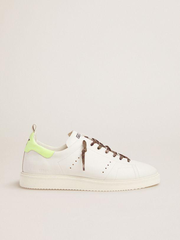 Golden Goose - White Starter LTD sneakers with fluorescent yellow heel tab in