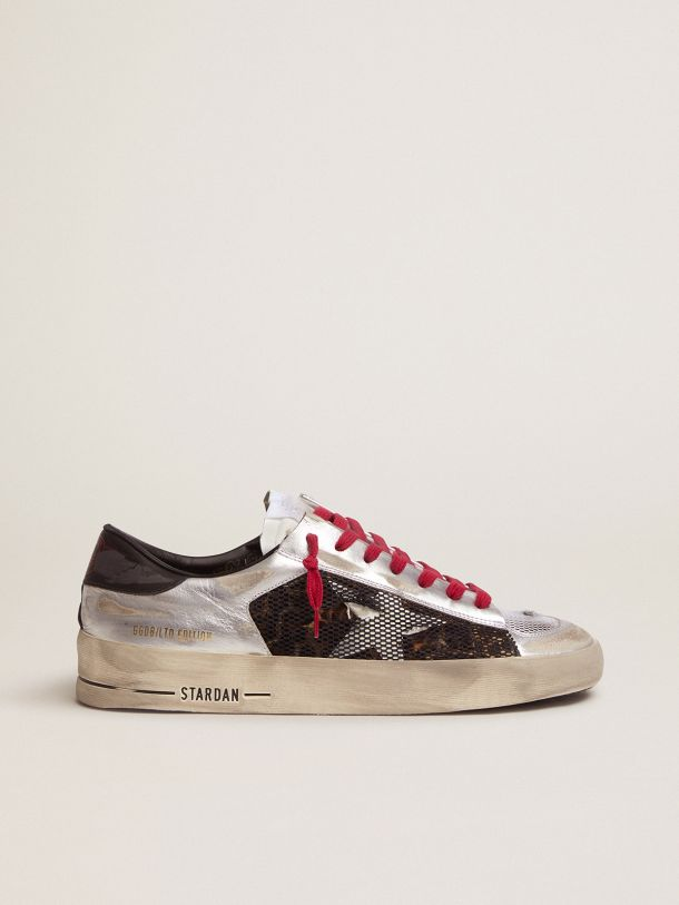 Golden Goose - Men's Limited Edition LAB silver and animal-print Stardan sneakers in