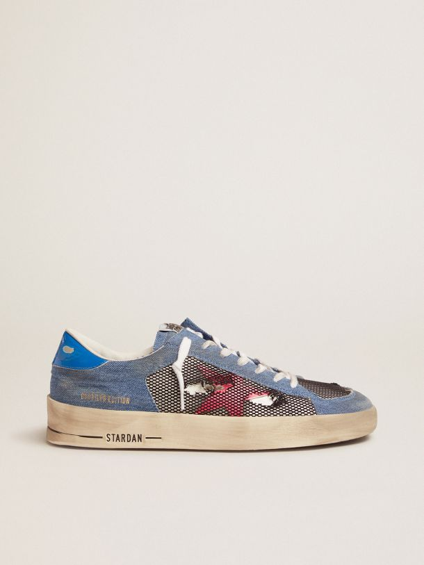 Golden Goose - Men's Limited Edition LAB denim Stardan sneakers with fuchsia star in