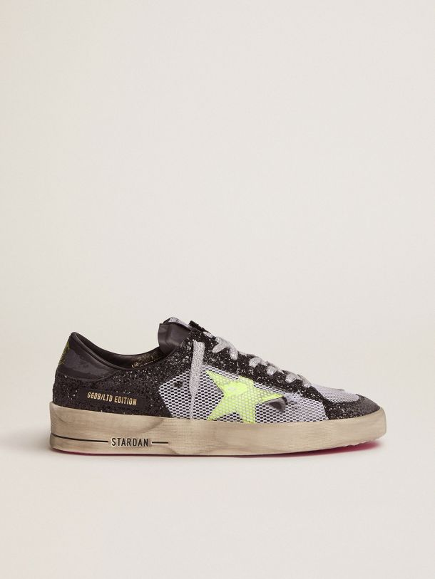 Golden Goose - Stardan sneakers with glittery upper, fluorescent yellow star and mesh inserts in