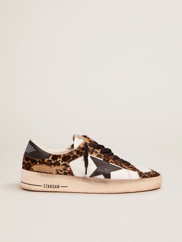 Golden Goose - Stardan sneakers in white leather and leopard-print pony skin in