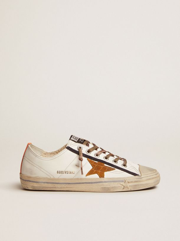 Golden Goose - V-Star LTD sneakers in white leather with crocodile-print suede star in
