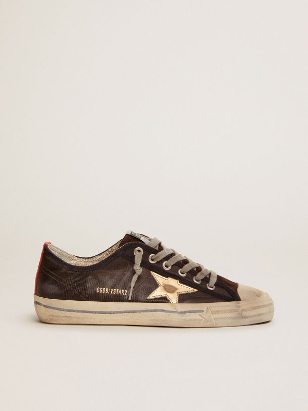 V-Star sneakers in dark blue canvas with gold laminated leather star