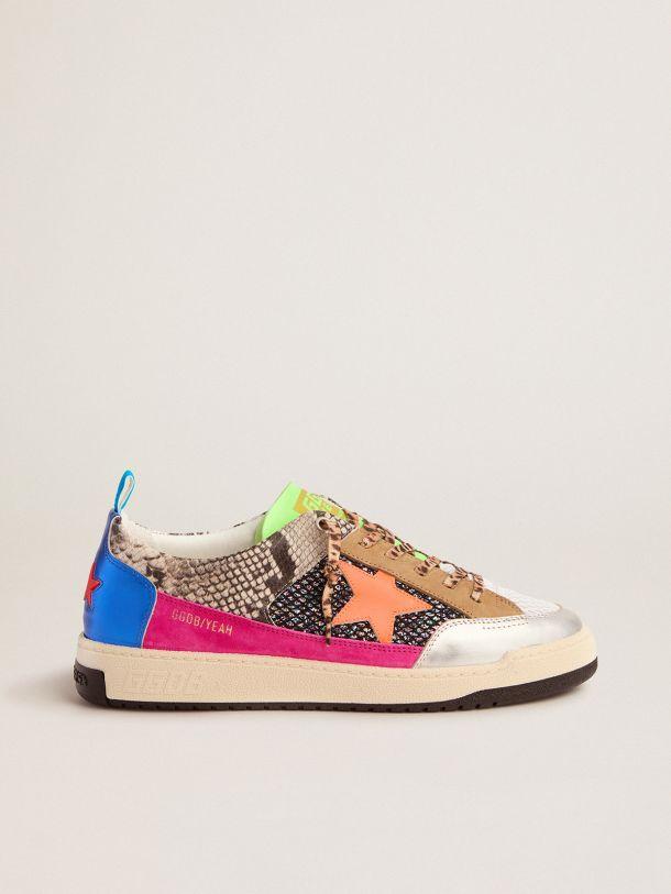Golden Goose - Men's snakeskin-print Yeah sneakers with orange star in