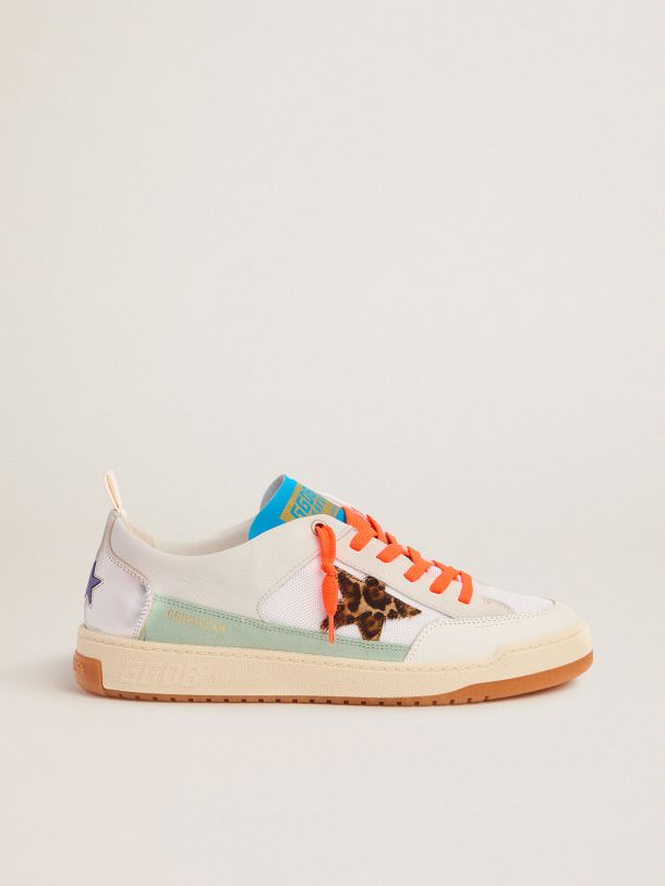 Golden Goose - Men's white and blue Yeah sneakers with leopard-print star in