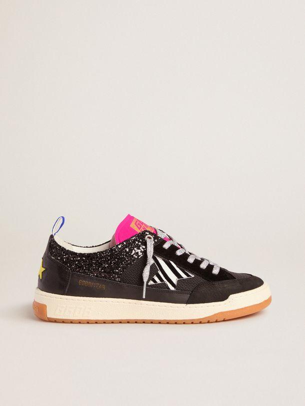 Golden Goose - Men's black Yeah sneakers with glitter and zebra-print star in