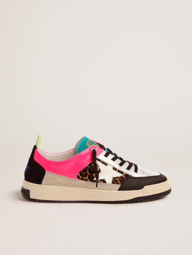 Golden Goose - Men's fuchsia and leopard-print Yeah sneakers   in