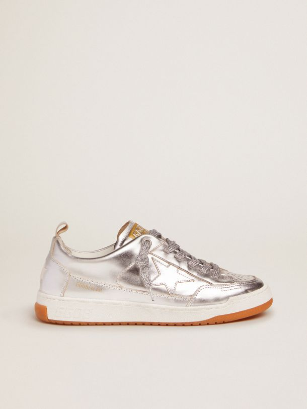 Golden Goose - Yeah sneakers in silver laminated leather in