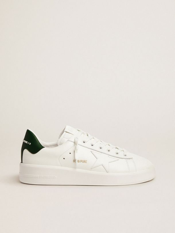 White Purestar sneakers with green heel tab